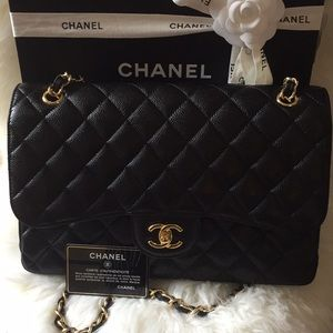 Chanel Double Flap Jumbo Classic Bag Black Caviar
